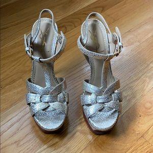 YSL Tribute Platform Sandals in Crinkle Gold